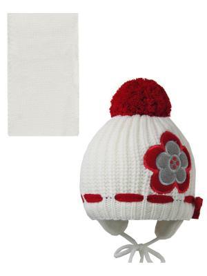 Шапка, шарф Pro-han. Цвет: молочный, красный