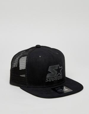 Starter Черная бейсболка с логотипом Trucker. Цвет: черный