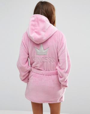 Boux Avenue Укороченный халат с капюшоном Princess. Цвет: розовый