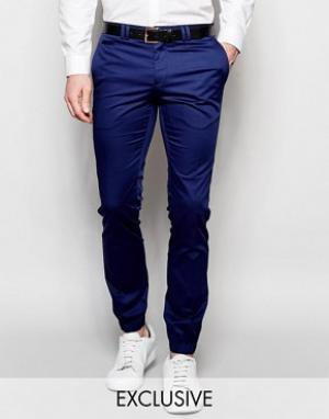 Noak Хлопковые супероблегающие брюки с манжетами. Цвет: синий