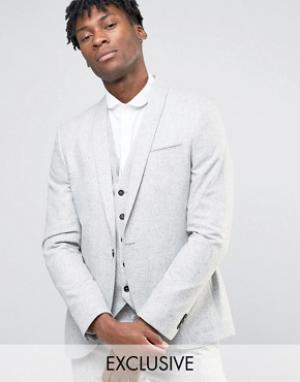 Noak Супероблегающий пиджак в крапинку с лацканами наклонной формы. Цвет: серый