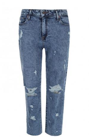 Укороченные расклешенные джинсы с потертостями Paige. Цвет: голубой