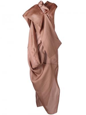 Вечернее платье Egret Rick Owens. Цвет: коричневый