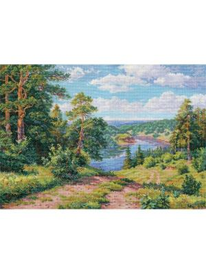 Набор для вышивания Над рекой  40х30 см. Алиса. Цвет: голубой,зеленый,коричневый