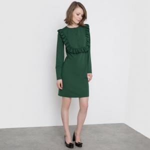 Платье из трикотажа с манишкой и воланом спереди MADEMOISELLE R. Цвет: зеленый,черный