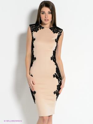 Платье AX Paris. Цвет: светло-бежевый