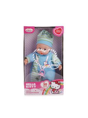 Пупс Карапуз Hello Kitty 30см, озвученный, 30 звуков, мягкое тело.. Цвет: голубой, белый, зеленый