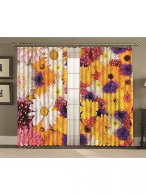 Комплект шторы, Бриджит 150*270 (2) + тюль МарТекс. Цвет: фиолетовый, желтый, розовый