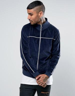 ASOS Темно-синяя велюровая спортивная куртка с контрастной окантовкой. Цвет: темно-синий