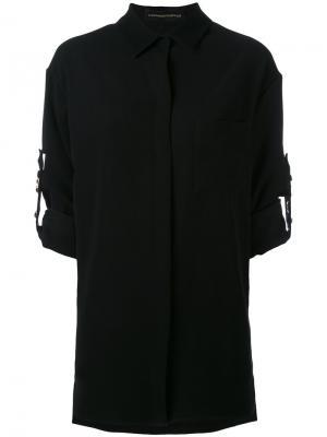 Рубашка с заклепками на ремешках Alexandre Vauthier. Цвет: чёрный