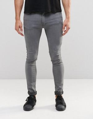 LDN DNM Серые облегающие джинсы. Цвет: серый