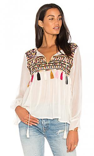 Блуза с вышивкой ragazza Karina Grimaldi. Цвет: ivory