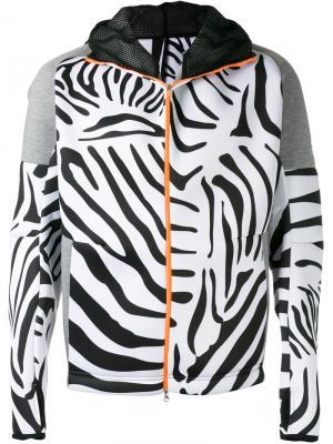 Толстовка на молнии с зебровым принтом Adidas By Kolor. Цвет: чёрный