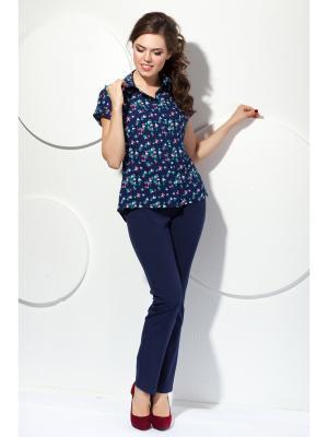 Блузка Modellos. Цвет: синий, бирюзовый, розовый