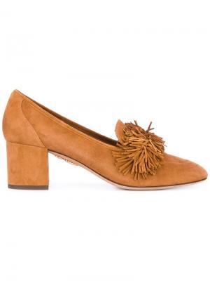 Туфли с бахромой Aquazzura. Цвет: телесный