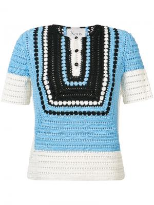 Вязаная крючком блуза Novis. Цвет: синий