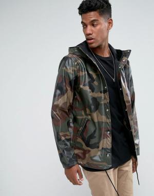Herschel Supply Co Камуфляжная непромокаемая спортивная куртка с капюшоном Forec. Цвет: зеленый
