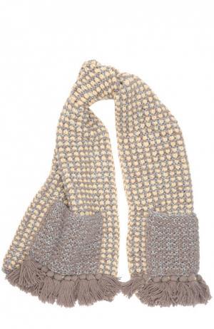 Вязаный шарф с декоративными карманами 7II. Цвет: бежевый