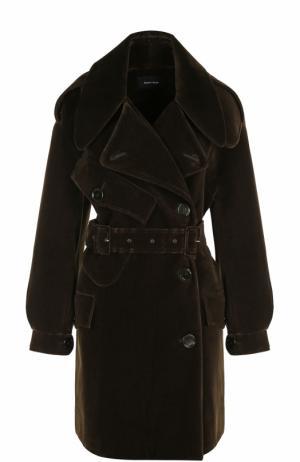 Укороченные бархатное пальто с поясом Simone Rocha. Цвет: хаки