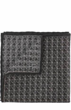 Шерстяной платок с принтом Canali. Цвет: темно-серый