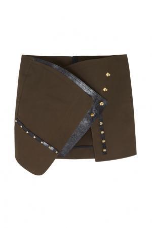 Хлопковая юбка-мини Anthony Vaccarello. Цвет: хаки
