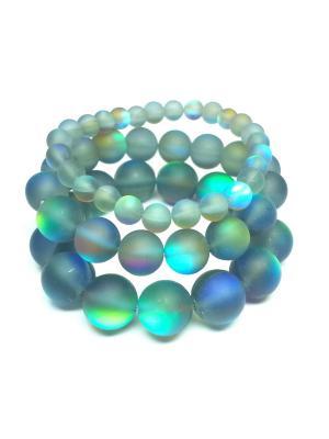 Ночь, комплект из трех браслетов Amorem. Цвет: бирюзовый, светло-зеленый, серый, темно-серый, светло-голубой, светло-желтый