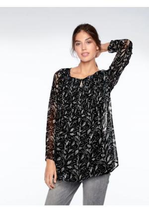 Комплект: блузка + топ LINEA TESINI by Heine. Цвет: черный/серо-бежевый