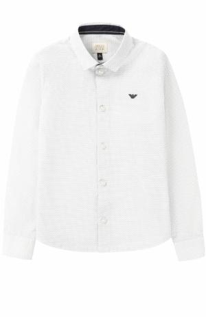Хлопковая рубашка с логотипом бренда Armani Junior. Цвет: серый