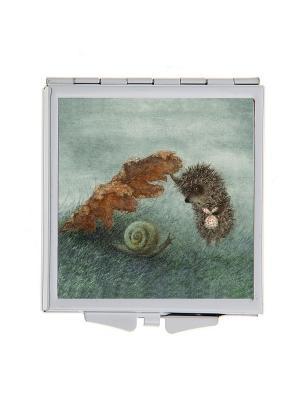 Зеркальце карманное Ежик и улитка Арт. Chocosq-004 Chocopony. Цвет: зеленый, коричневый, серый