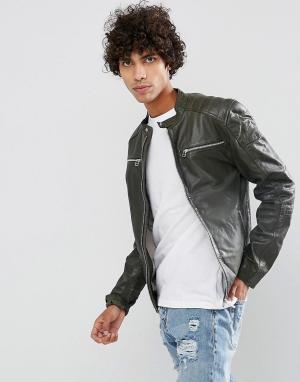 Goosecraft Кожаная байкерская куртка коричневого цвета. Цвет: коричневый