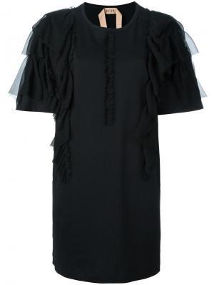 Удлиненная футболка с рюшами Nº21. Цвет: чёрный
