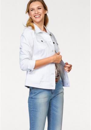 Джинсовая куртка CHEER. Цвет: белый
