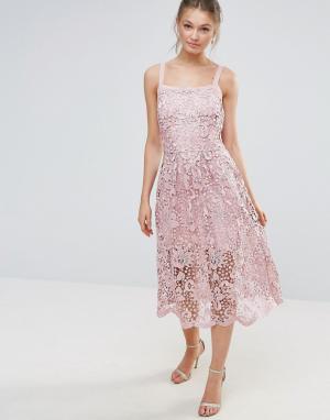 Body Frock Кружевное платье с волнистым краем Bodyfrock. Цвет: розовый
