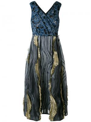 Платье с бахромой Antonio Marras. Цвет: синий