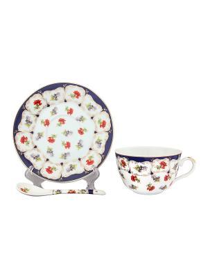 Чайная пара Цветочек Elan Gallery. Цвет: синий, белый, красный