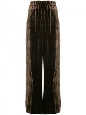 Бархатные брюки-палаццо Uma Wang. Цвет: коричневый