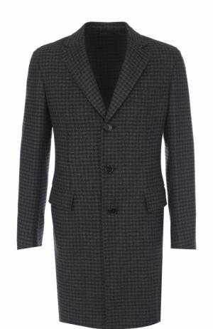 Однобортное кашемировое пальто с отложным воротником Brioni. Цвет: серый