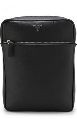 Кожаная сумка-планшет с двумя отделениями на молнии Serapian. Цвет: черный