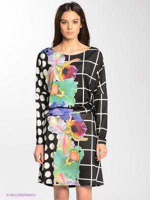 Платье Desigual. Цвет: черный, зеленый, фиолетовый, белый