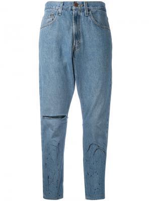 Укороченные джинсы бойфренда One Teaspoon. Цвет: синий