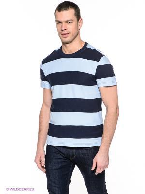Футболка Finn Flare. Цвет: темно-синий, голубой