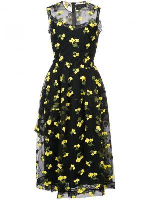 Платье с цветочной вышивкой Simone Rocha. Цвет: чёрный