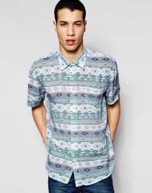 Afends Рубашка с короткими рукавами Sth Wst. Цвет: синий