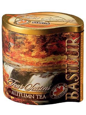 Чай Basilur ВРЕМЕНА ГОДА Осенний AUTUMN TEA (с кленовым сиропом), 1 БАНОЧКА. Цвет: золотистый, темно-зеленый