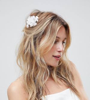 ASOS Набор из 3 заколок для волос с цветочной отделкой DESIGN. Цвет: белый