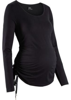 Мода для беременных: футболка с длинным рукавом (черный) bonprix. Цвет: черный