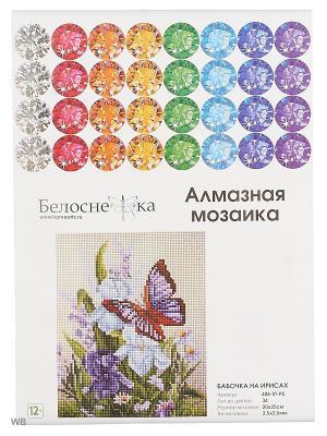 Мозаичные картины. Бабочка на ирисах (408-ST-PS) Белоснежка. Цвет: белый