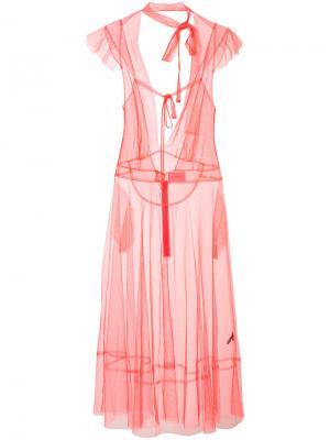Прозрачное платье с завязками на шее Les Animaux. Цвет: красный