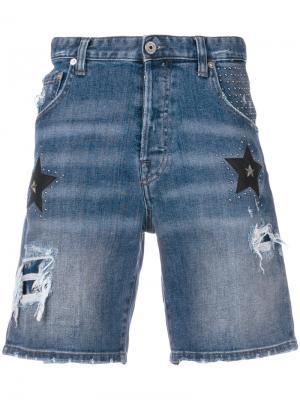 Джинсовые шорты с нашивками звезд Just Cavalli. Цвет: синий
