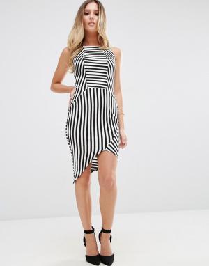 Jessica Wright Полосатое платье-футляр с асимметричным краем. Цвет: черный